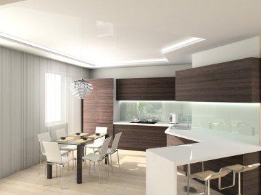 3D modern interior of kitchen