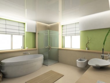 3D render interior of bathroom