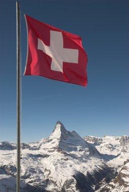 Matterhorn and Swiss Flag