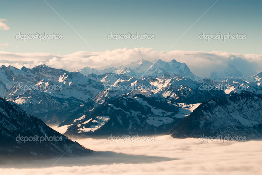 Swiss mountains in winter