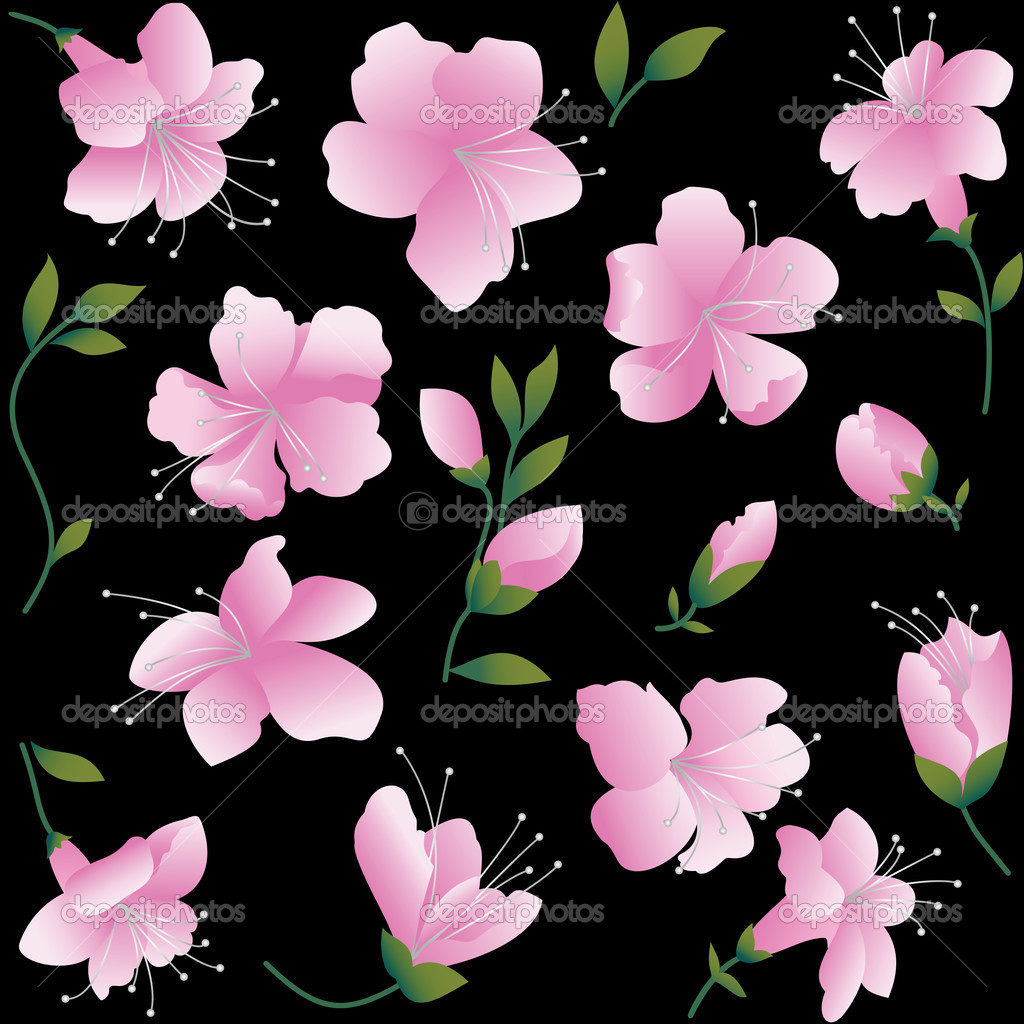 Pink flowers on black background stock vector veter 2645788 pink flowers on black background stock vector mightylinksfo