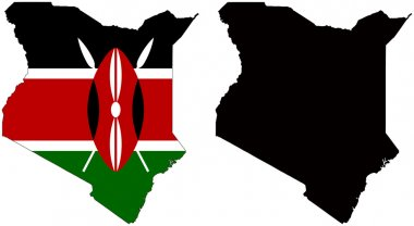 Flag and silhouette of Kenya