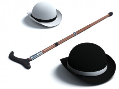 Retro Hat and Cane
