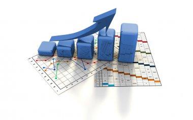 Business finance chart, graph, diagram, stock vector