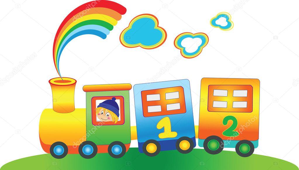 Cartoon boy in the fairy rainbow train