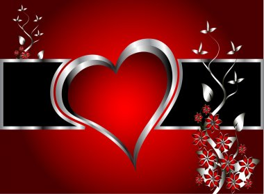A red hearts Valentines Day Background with silver hearts and flowers on a red graduatedl background clip art vector