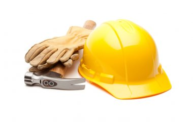 Yellow Hard Hat, Gloves and Hammer