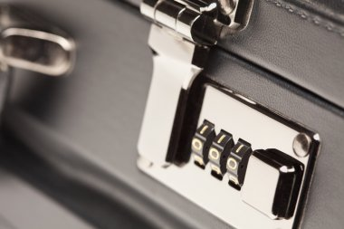 Close Up Black Leather Briefcase Lock