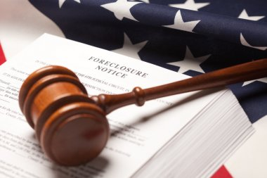 Gavel, American Flag, Foreclosure Notice