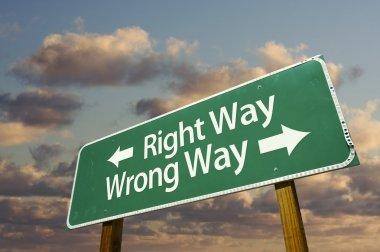 Right and Wrong Way Green Road Sign