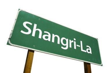 Shangri-La Green Road Sign on White