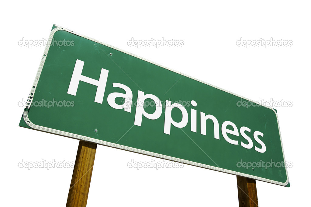Happiness Green Road Sign on White