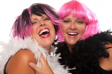 Two Girls with Pink And Black Wigs