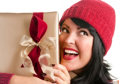 Brunette Woman Holds Holiday Gift