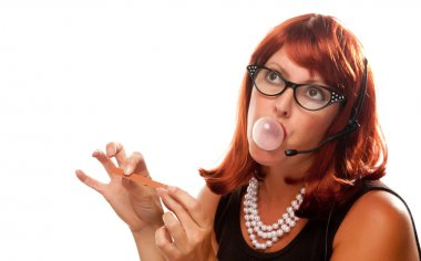 Red Head Retro Receptionist Chews Gum