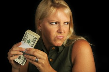 Woman on Black Holding Stack of Money