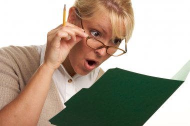 Shocked Woman with Pencil and Folder