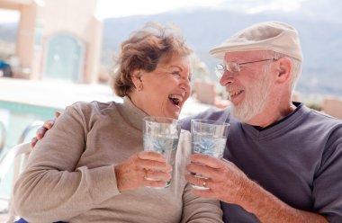 Happy Senior Adult Couple Enjoying Drink