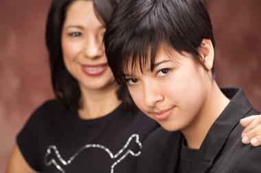 Attractive Multiethnic Mother and Daughter