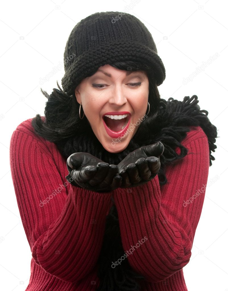 Excited Woman, Winter Clothes Hands Out