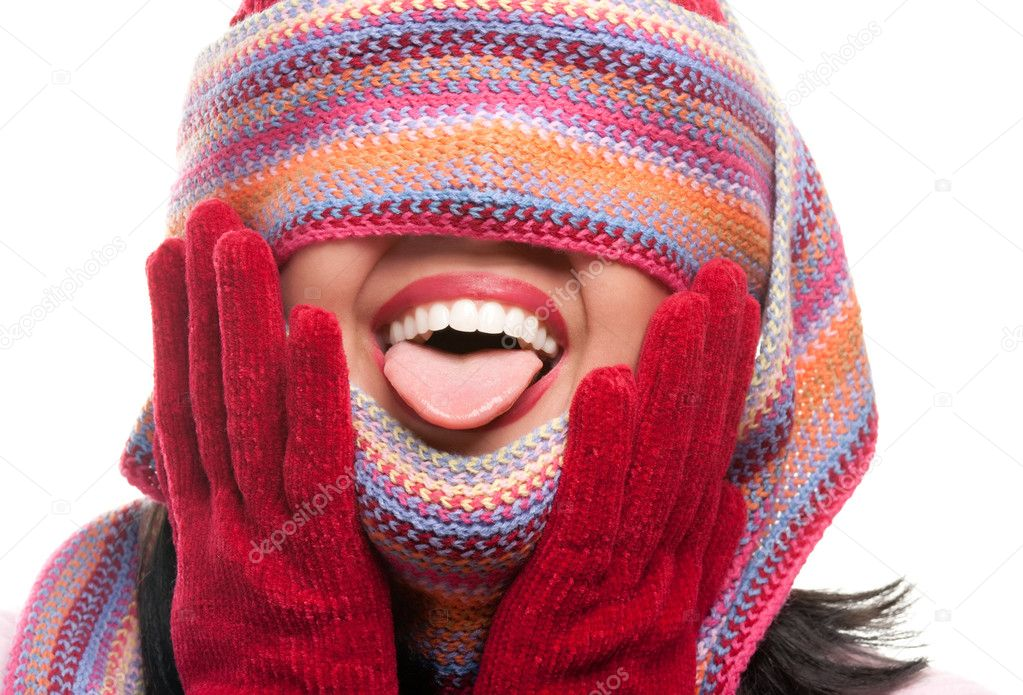 Attractive Woman With Colorful Scarf