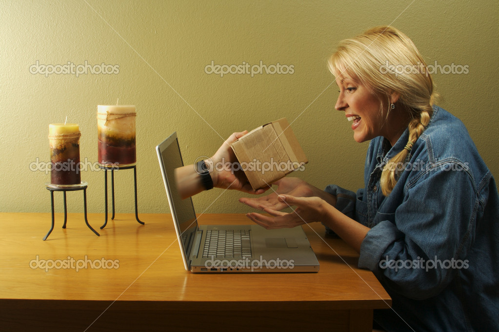 Package Through Laptop Screen and Girl