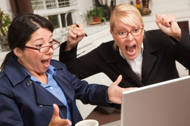 Two Women Using Laptop Celebrate Success