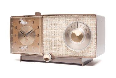 Vintage Clock Radio Facing Left Isolated