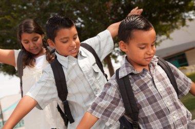 Hispanic Children Walking to School