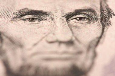 Abe Lincoln of U.S. Five Dollar Bill