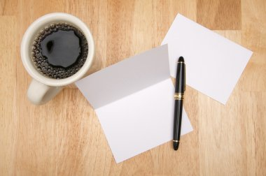 Blank Note Card, Pen and Cup of Coffee