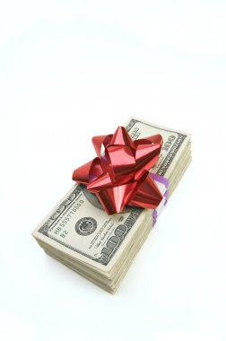 Money Stack with Bow Isolated on White