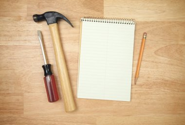 Paper Pad, Pencil, Hammer, Screwdriver
