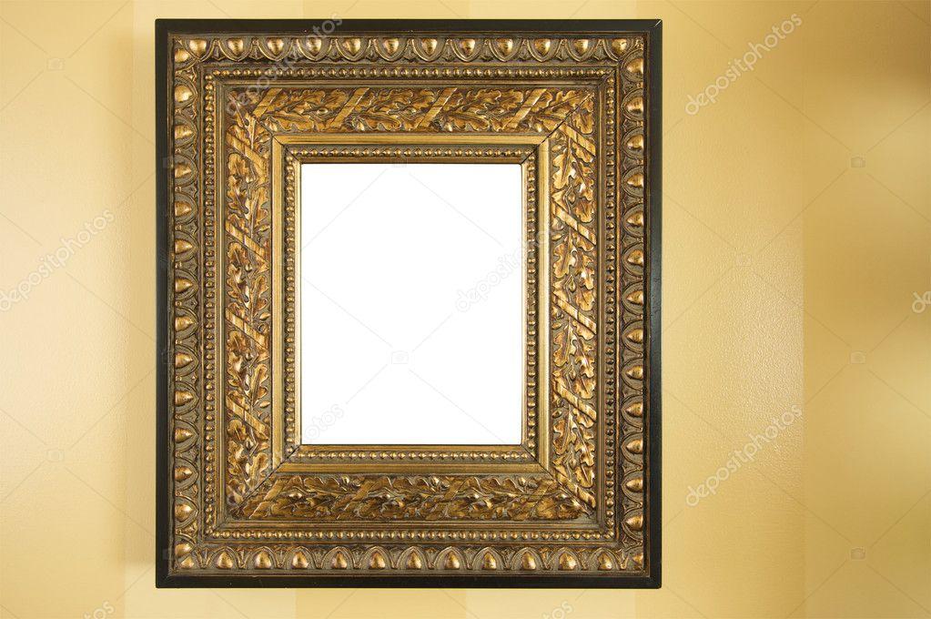 marco adornado en blanco sobre fondo amarillo — Fotos de Stock ...