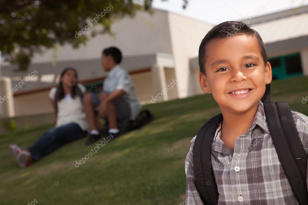 Young Hispanic Boy On His Way to School