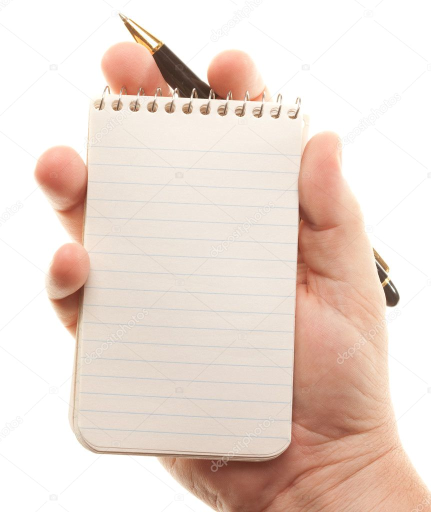 Male Hands Holding Pen and Pad of Paper