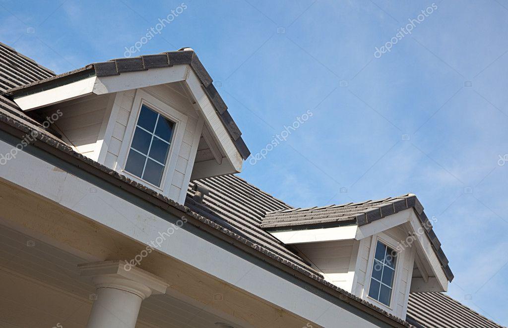 Abstract House Facade Against a Blue Sky