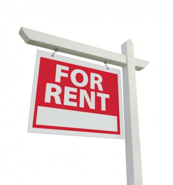 For Rent Real Estate Sign on White