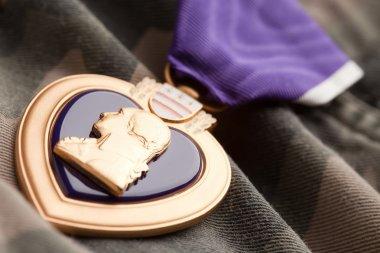 Purple Heart War Medal on Camouflage