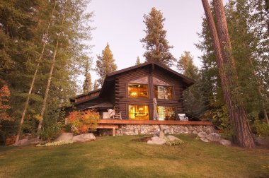 Beautiful Log Cabin Exterior Among Pines