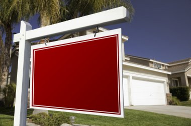 Blank Red Real Estate Sign and House