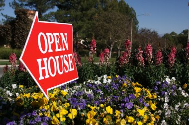 Open House Real Estate Sign in Flowers