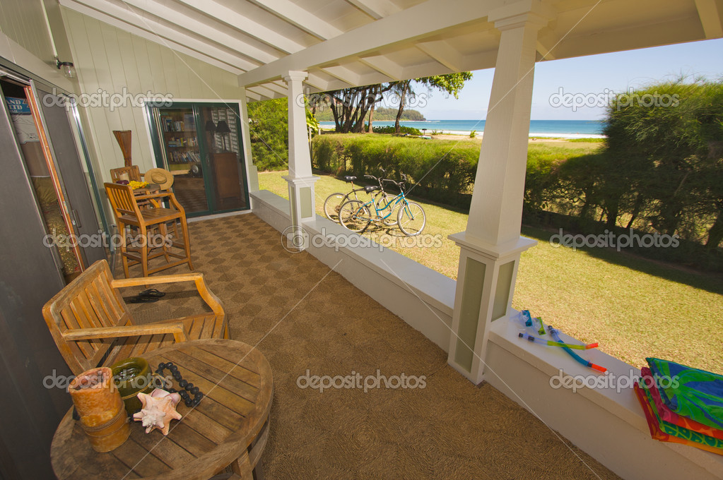 Oceanfront house lanai with beautiful view stock photo for What is a lanai in a house