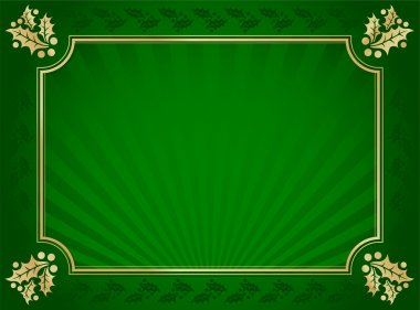 Lustrous Green and Gold Holly Background