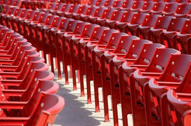 Row of red chairs rounded