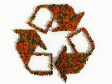 Recycling symbol made of autumn trees