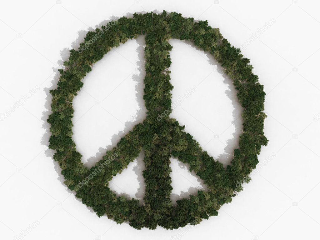 Ban the bomb sign made of trees