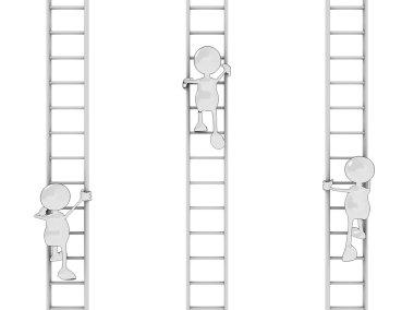 Cartoon men climbing ladders