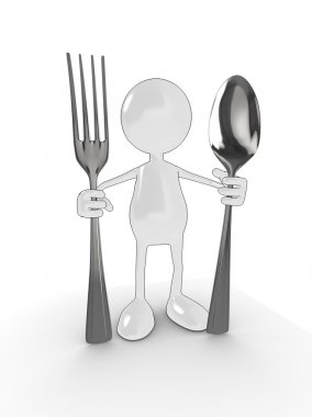 3d man with fork and spoon
