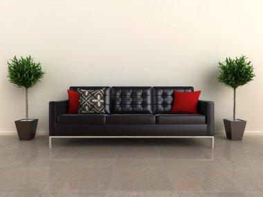 Designer sofa with plants